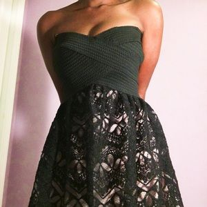 Black and Nude Strapless Cocktail Dress